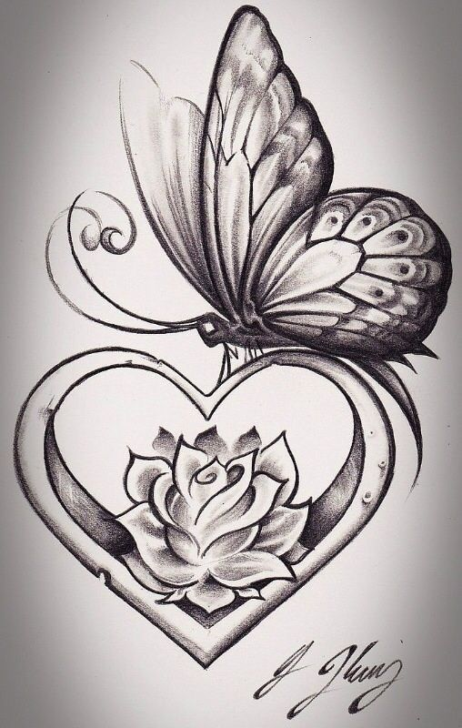 Drawn rose love heart The Pinterest tattoos get butterfly