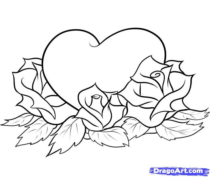 Drawn rose love heart And Love Drawings Best Hearts