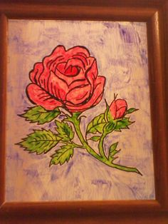 Drawn rose marker To glass image an Draw