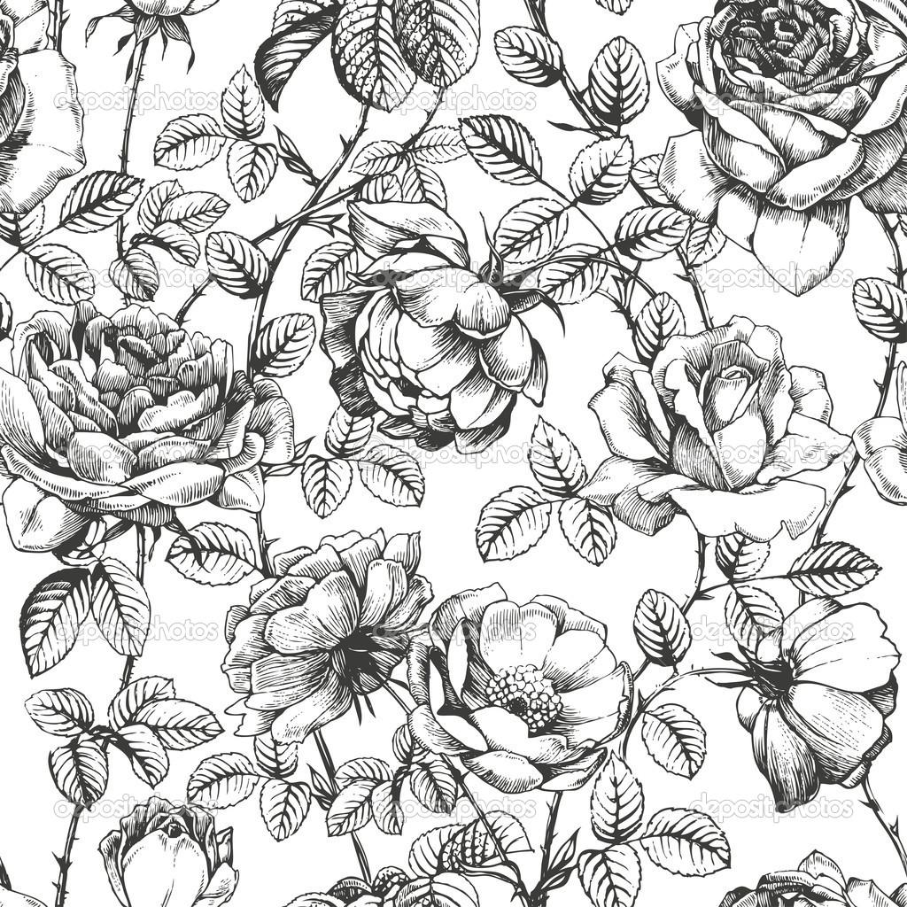 Drawn rose pattern  pattern 1 1 depositphotos_13947768