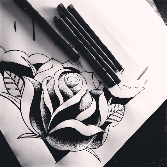 Drawn rose pen and ink P #artist #dessin #rose #drawing