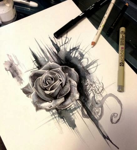 Drawn rose pen and ink Traditional and ink rose and