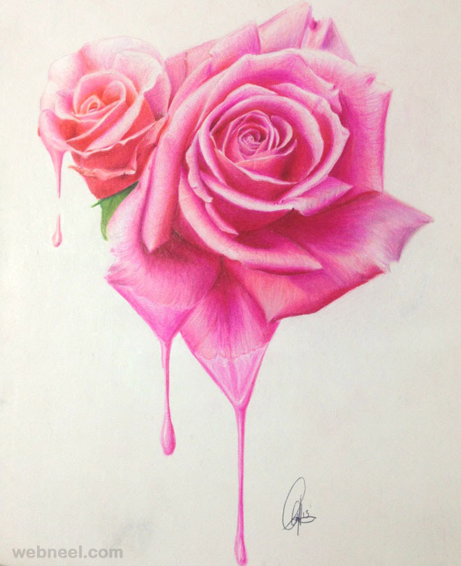 Drawn red rose realistic Roses lightofunity Of Pics Pages