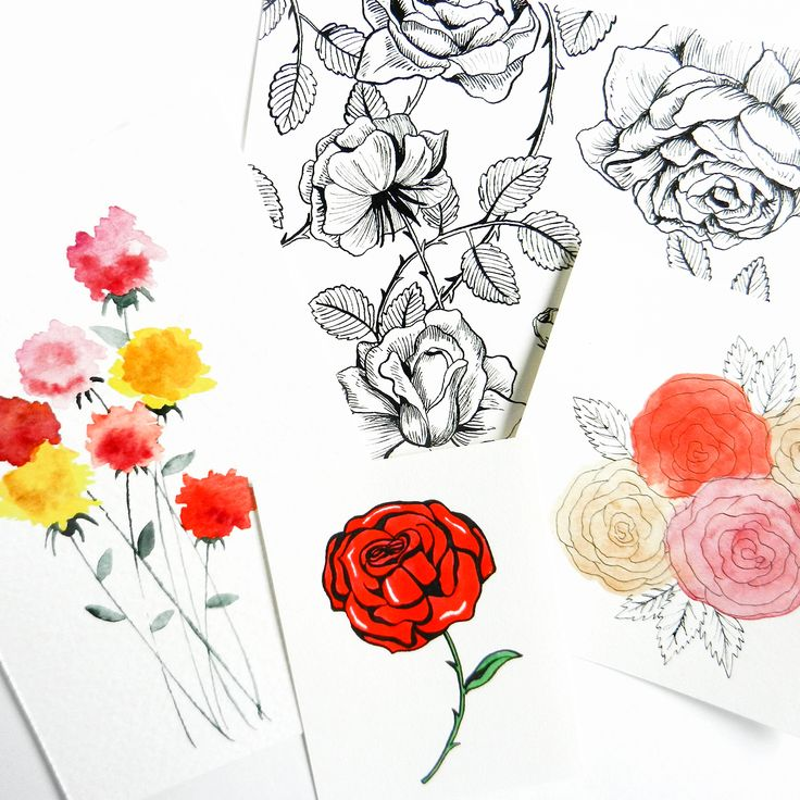 Drawn rose pretty flower How  How Roses draw