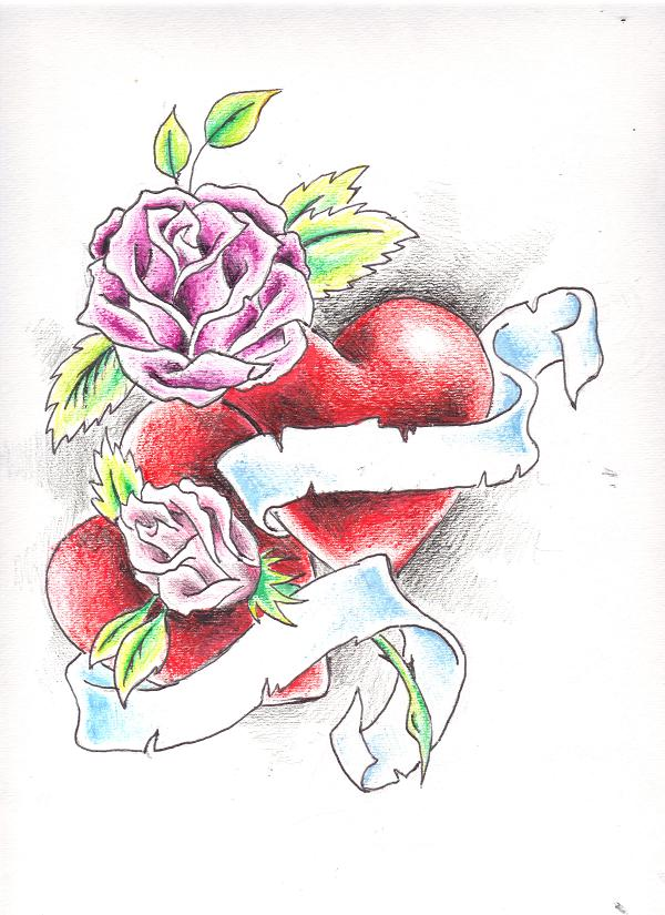 Drawn rose ribbon On and Ribbon Tattoos Tattoo