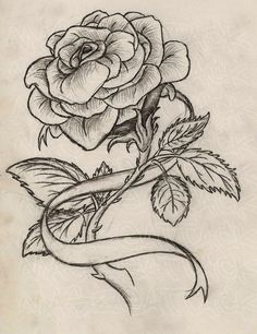 Drawn rose ribbon A ribbons sword tattoo and