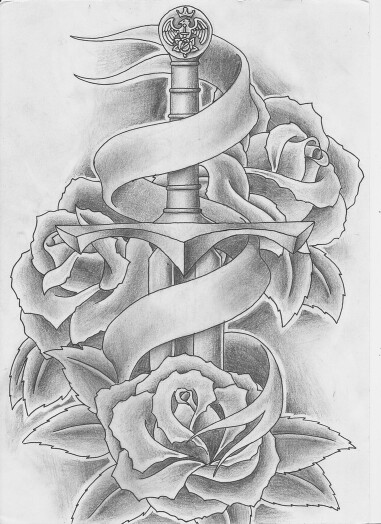 Drawn rose ribbon Tattoo sword Sword Roses tattoo