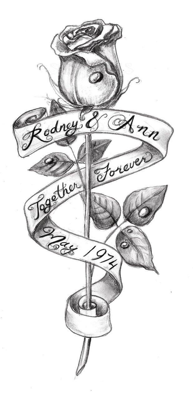 Drawn rose rose banner Tattoo Absinthiaverte Sketch Sketch Design