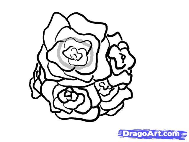 Drawn rose rose cluster Step how basket 6 How