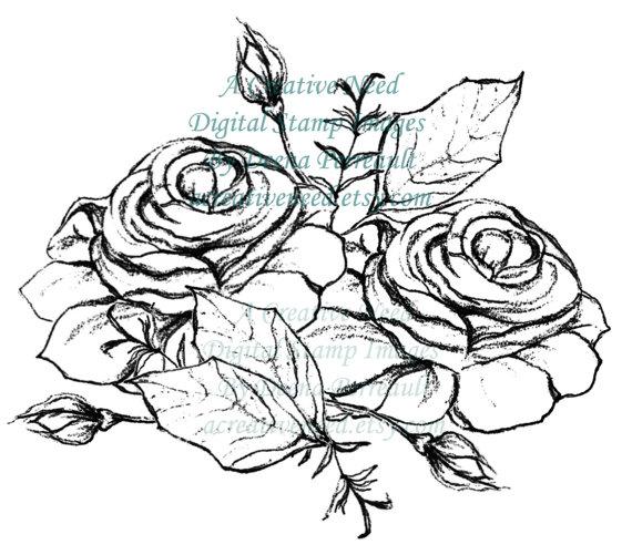 Drawn rose rose cluster ROSE INSTANT Image Journal scrapbooking