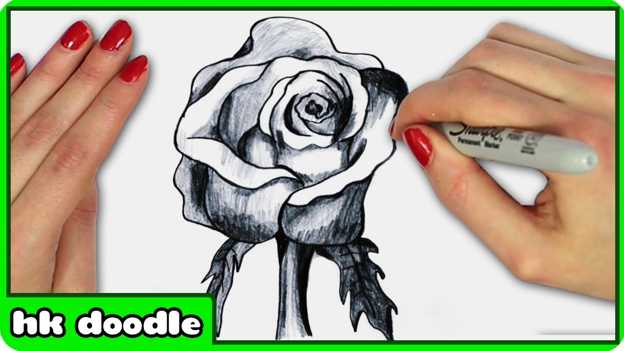 Drawn rose simple realism Step Realistic in Step Drawing