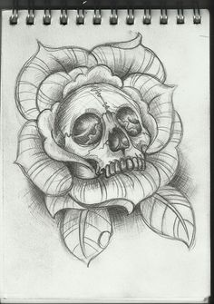 Drawn rose skull inside Tattoos can Permanent tattoos or
