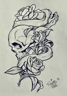Drawn rose skull inside Pinteres… Find this and skull_rose_by_epickickboxer