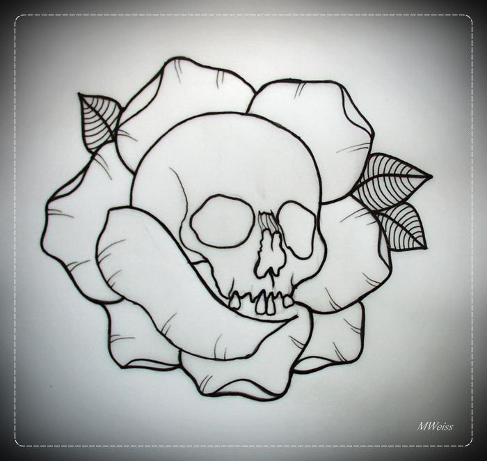 Drawn rose skull inside Flash SKULL IN OUTLINE com