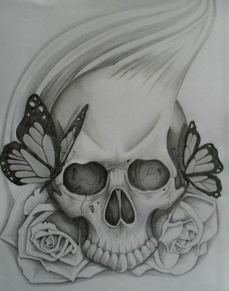 Drawn rose skull inside Skull simple skull drawings Skulls