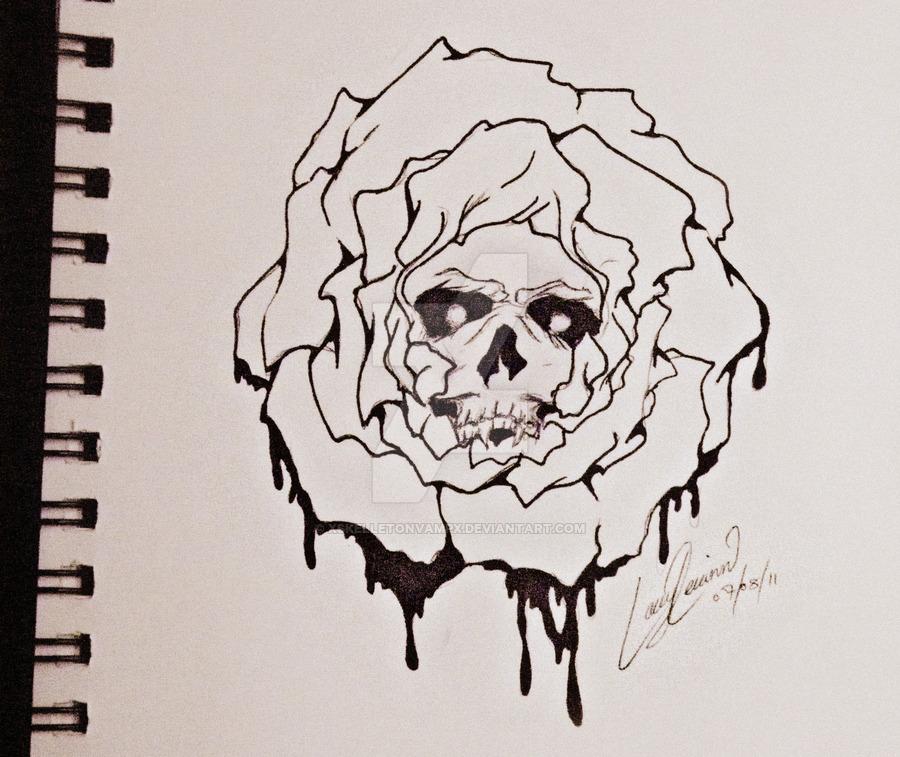 Drawn rose skull inside Skull Rose XSkelletonVampX DeviantArt XSkelletonVampX