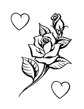 Drawn rose stem outline Rose hearts With Outline with