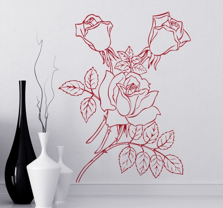 Drawn rose stem outline Rose Outline Rose Decal TenStickers