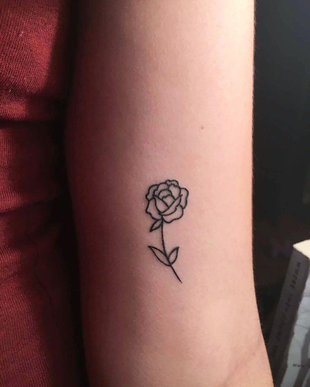 Drawn rose tiny rose Tattoos and Pinterest lines Small