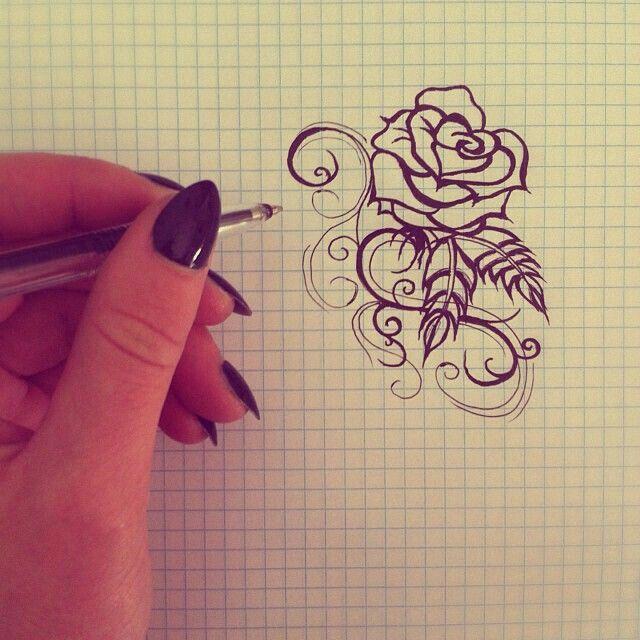 Drawn rose tiny rose Small rose on tattoos Pinterest