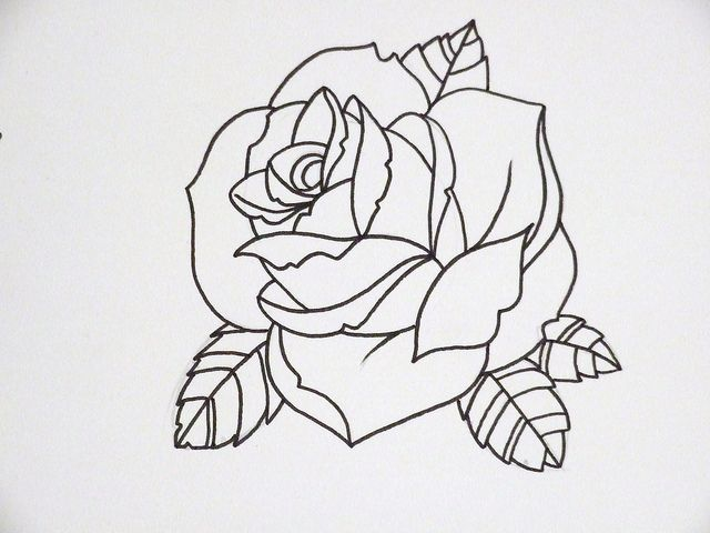 Drawn rose top Outline on by rose ideas
