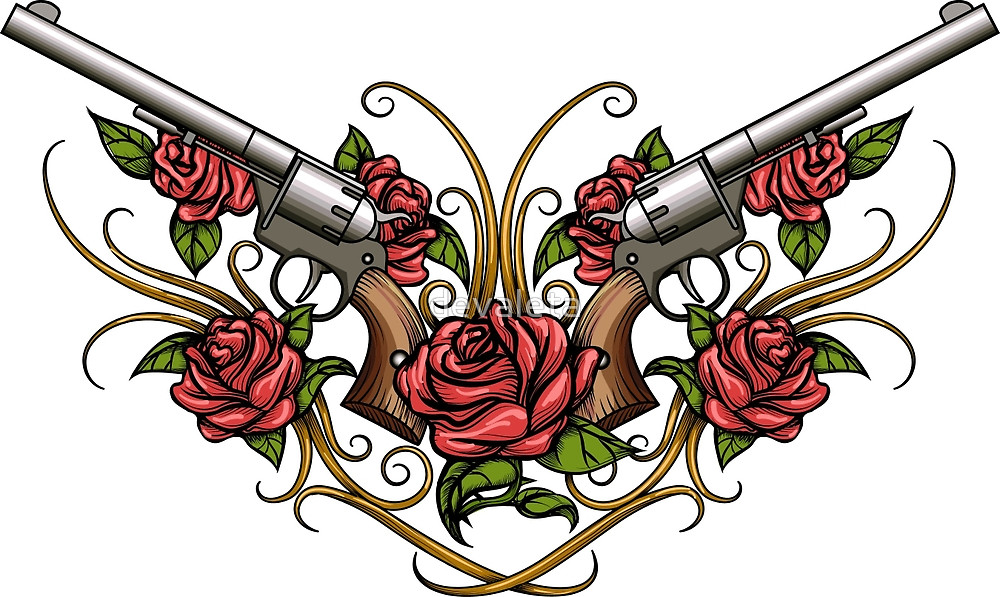 Drawn rose two  Drawn Style and Guns