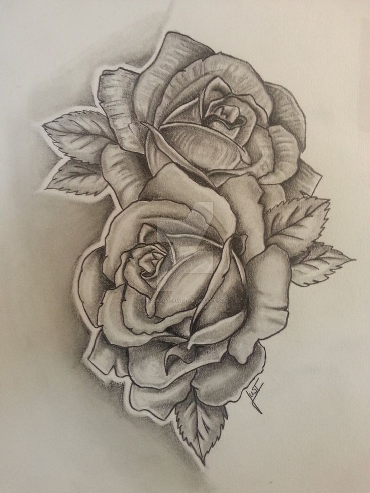 Drawn rose two Just Skull Tattoodesign rose by