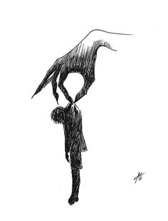 Drawn sad demon Demon depression and draw Black