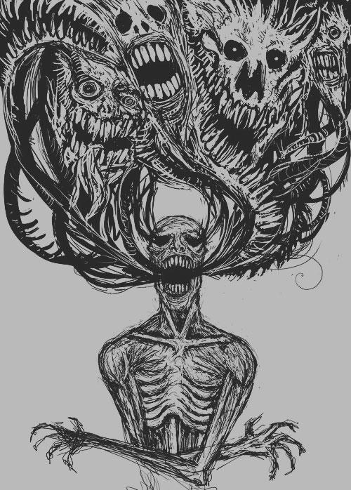 Drawn sad demon Too but for dark me