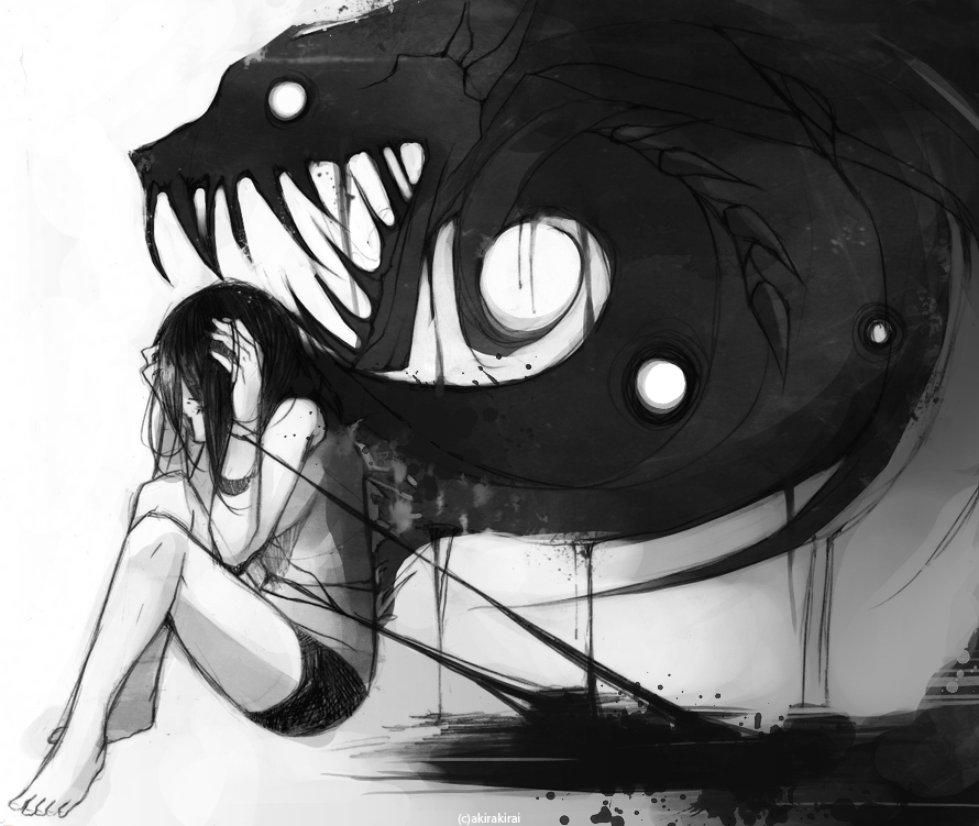 Drawn sad demon Darkness Alexandria and Drawings by