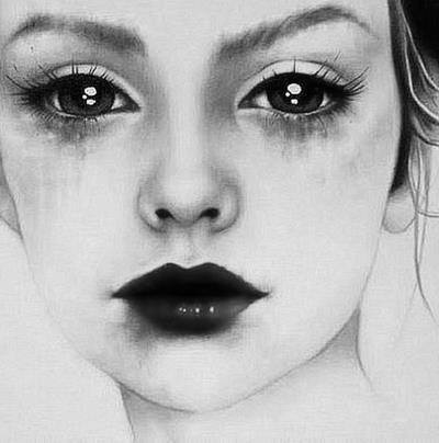 Drawn sad realistic Running Crying girl Stay strong