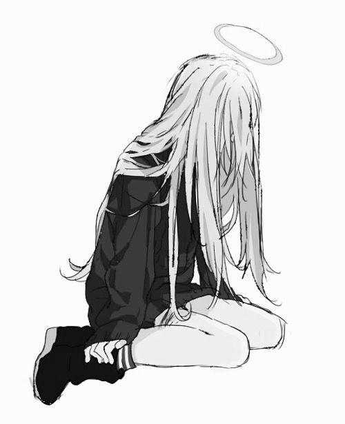 Drawn sad sad woman Black Best Pinterest Sad girl