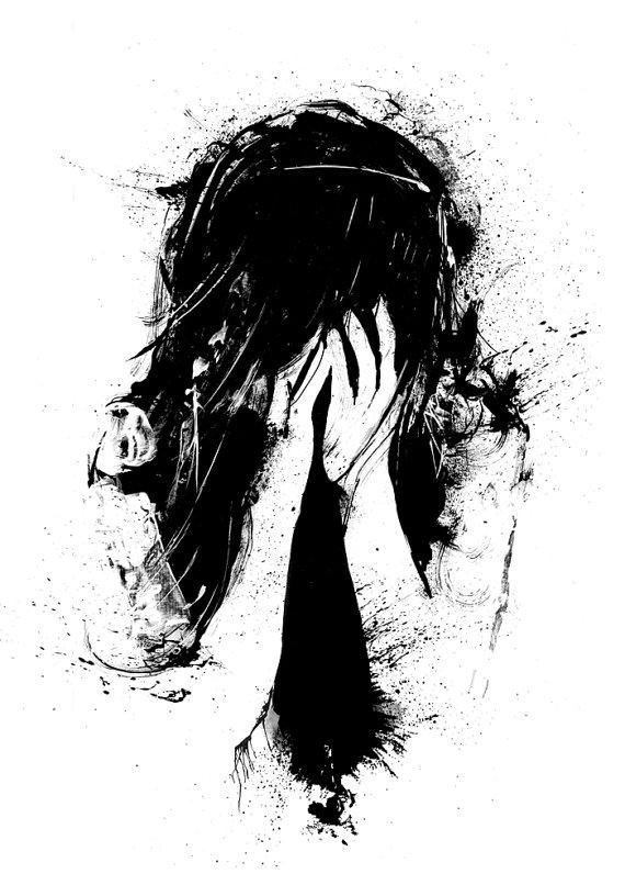 Drawn sad sad woman Is And White Girl Surreal