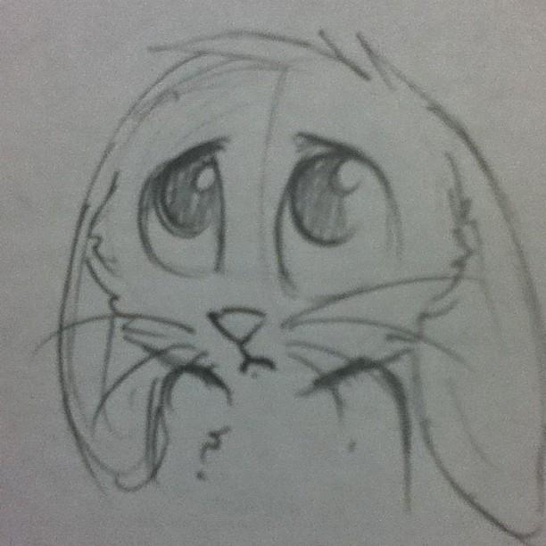 Drawn rabbid sad Cute Sad Easter by <b>Bunny</b>