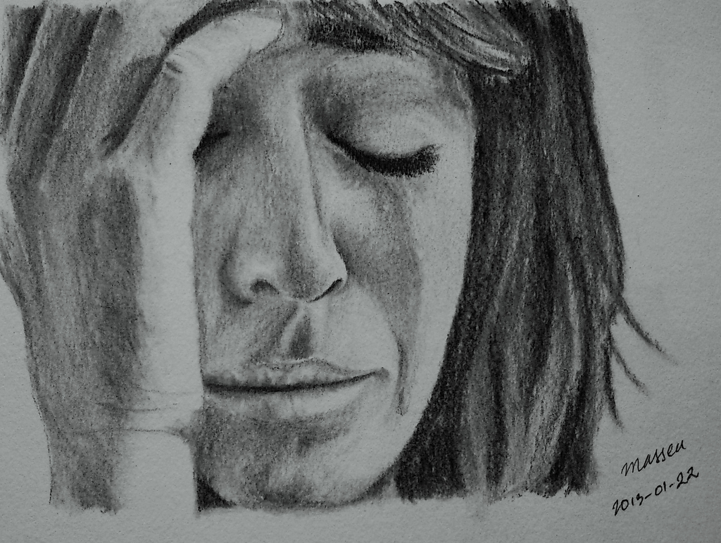 Drawn sad realistic Crying Learns To January Sketch