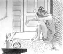 Drawn sad pencil sketch Lonely image sad crying girl