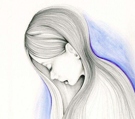 Drawn sad sad woman Painting my Girls Artwork 32