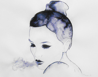 Drawn sad smoking Fashion Blowing Watercolor Sad Girl
