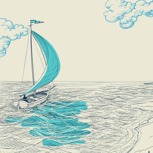 Drawn sailboat Vector free drawn Hand drawn