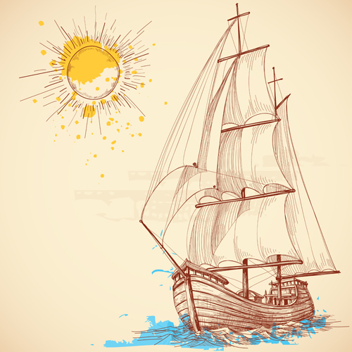 Drawn sailing Drawn drawn vector sailboat 02