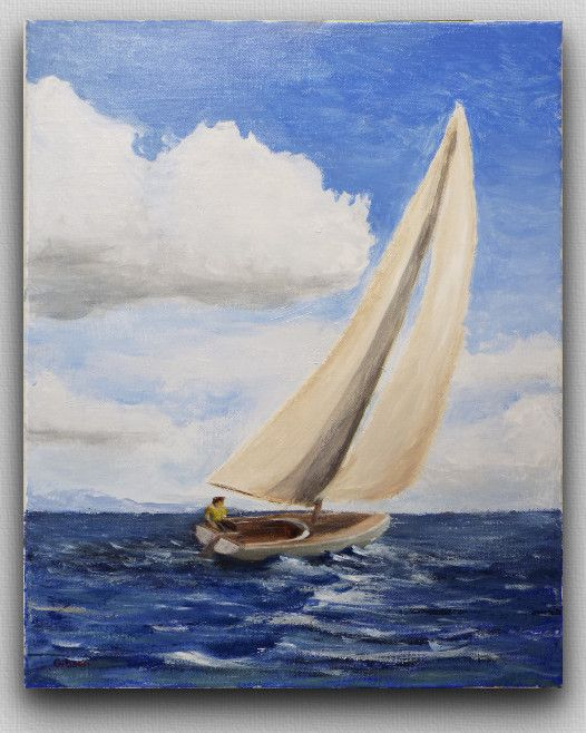 Drawn sailboat painted MarshVioletDesigns by Best Print or