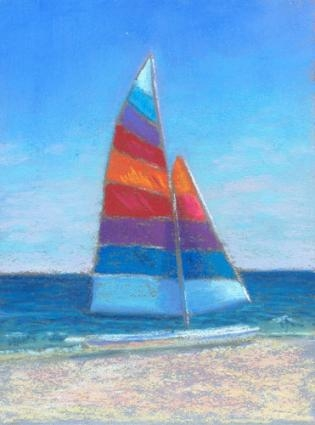 Drawn sailboat painted  coastal painting ~ Sailboat