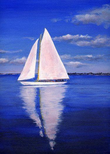 Drawn sailboat painted Best katharine painting Original by