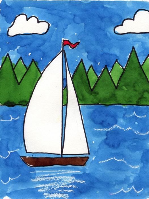 Drawn sailboat painted Interest blue add Kids across