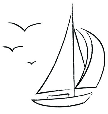 Drawn sailing boat By Sea how to outline