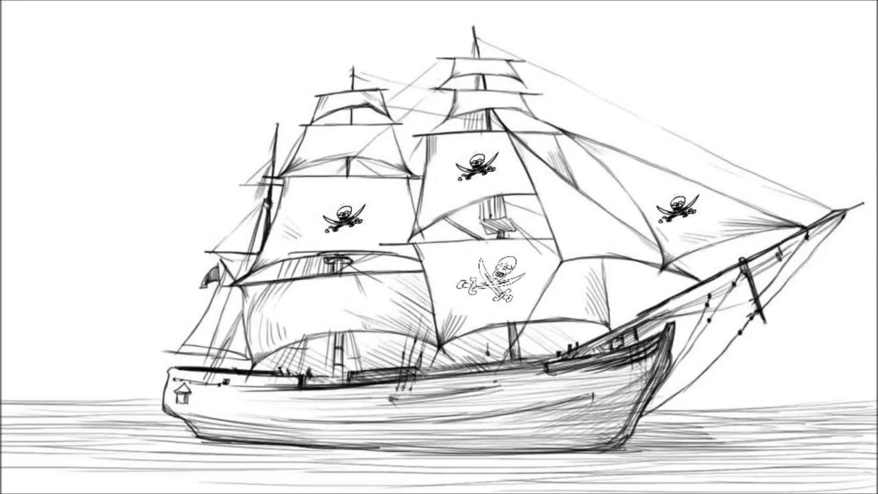 Drawn sailing ship Ship Draw Pirate YouTube To