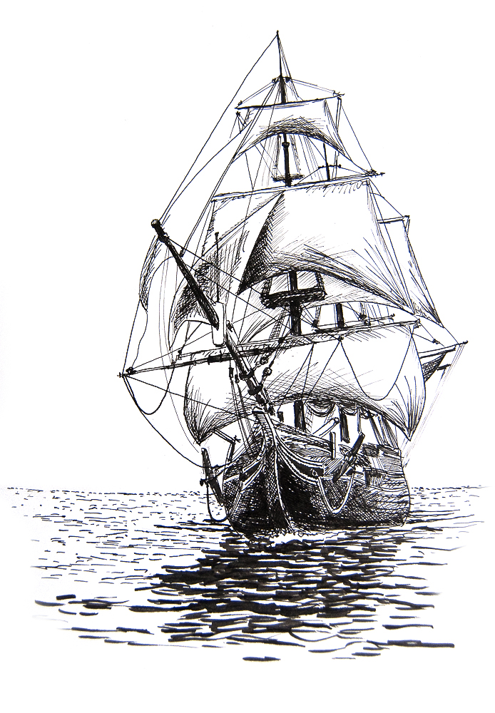 Drawn sailing ship DrawingPirate Vintage 7 2