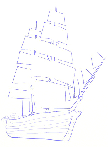 Drawn sailing ship Sailing Step draw Ship by