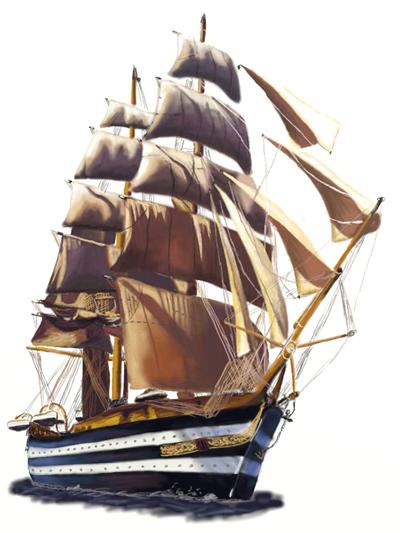 Drawn sailing ship #7