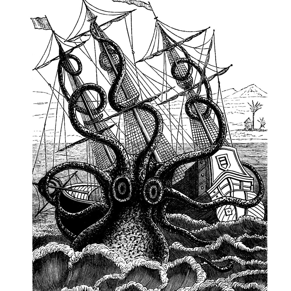 Drawn ship kraken Pirate Ship Art Attacks Nautical